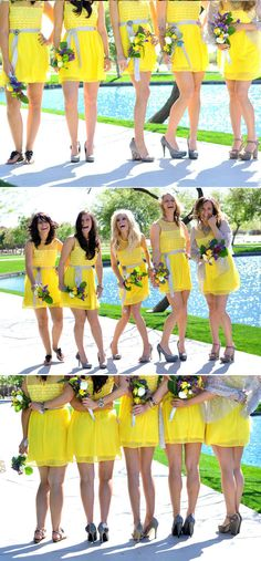 #yellow #bridesmaids dresses. let the bridesmaids choose what shoes they want to wear