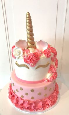 2 Tier Pink and Gold Unicorn Cake