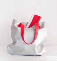 Vegan shopper bag silver large tote bags for women tote bag