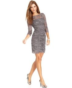 Eliza J New Gray Lace Overlay Shirred 3 4 Sleeves Boatneck Cocktail Dress 8 | eBay