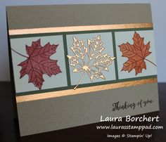 Adding a Foil Border, Colorful Seasons Stampin' Up Stamp Set, Seasonal Layers Framelits, Year of Cheer Washi Tape, Fall, Leaves, Copper Foil, www.LaurasStampPad.com