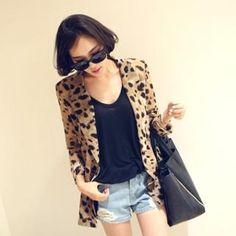 leopard boyfriend blazer + shorts