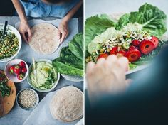 Summer wraps with green hummus