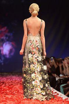 Breathtaking flower pattern wedding dress. Claire Pettibone, Fall 2014