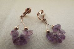 vintage clip ons earrings purple by TimesTwoBoutique on Etsy, $18.00