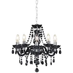 Buy collection inspire chandelier 5 light ceiling fitting blk at wilko marie therese chandelier black 5 arm 53 liked on polyvore featuring home aloadofball Gallery