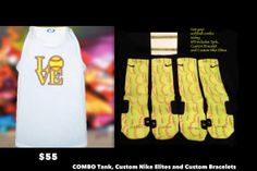 Softball COMBO custom Nike Elite Socks Tank and by TheSickestSocks, $35.99