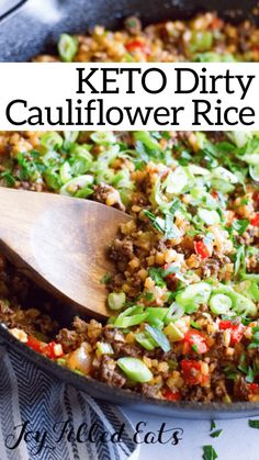 Keto Dirty Cauliflower Rice – Low Carb, Gluten-Free, Grain-Free, THM S - nutrition ideas Ketogenic Recipes, Low Carb Recipes, Beef Recipes, Healthy Recipes, Ketogenic Diet, Turkey Recipes, Recipies, Dinner Recipes, Keto Side Dishes