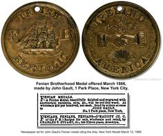 Recent research shows this medal was on Fenian Prisoners Terrance McDonald, Canada East Wing invasion, when captured June 1866 and introduced as evidence during his trial in December Irish Republican Brotherhood, Painted Front Doors, Prisoner, Celtic, Ireland, December, Canada, Ads, The Originals