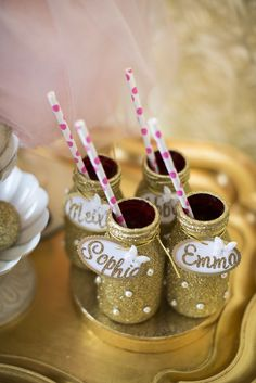 Glitter bottles! Butterfly Kisses Pink + Gold Valentine's Day Tea Party via Kara's Party Ideas KarasPartyIdeas.com Tutorials, cake, invitation, banners, desserts and more! #butterflykisses #butterflyteaparty #teapartyideas #valentinesdayteaparty #pinkandgold #goldandpink #butterflykissesparty #karaspartyideas #partystyling #valentinesdaypartyideas #pinkandgoldvalentinesdayparty #goldteaparty #butterflyparty (27)