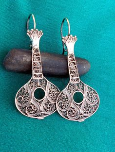 Portugal Filigree Handmade FADO GUITAR Guitarra Earrings by Atrio