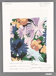 Textile piece Designer:Brooke Cadwallader Maker:Brooke Cadwallader, Inc. Culture:American Medium:Rayon (Enka), printed × 8 in. Design Textile, Textile Prints, Textiles, Floral Prints, Floral Illustrations, Illustration Art, Surface Pattern Design, Art Plastique, Art Inspo