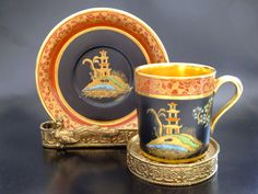 Porcelain cup and saucer set by Carlton Ware, England 1894