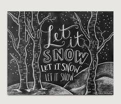 Let It Snow signe - Decor bois - signe d'hiver - tableau signe - décor de Noël Art-tableau craie - tableau Art - Chalk Print