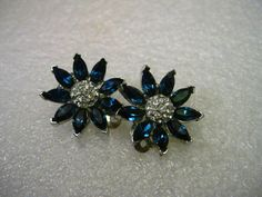 Vintage Silver Tone Blue Rhinestone Blossom by stampshopgirl
