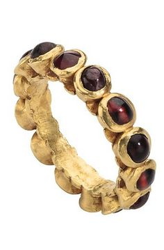 Late Antique Gemstone Ring Date: 4th century Culture: Roman Medium: Gold and garnets Dimensions: Hoop outer diam. 27.8 mm; hoop inner diam. 17.8 mm.; weight 5.04 gr.