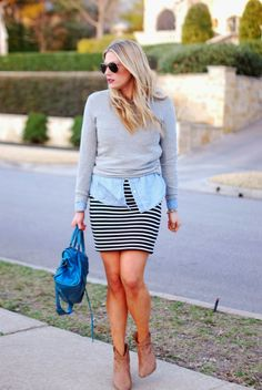 I am going to rock a similar outfit. Have a similar skirt, chambray and gray top and booties. Love!!!