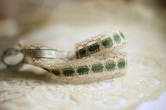 Vintage Lace Headband - Green & Ivory Wedding Color - Elastic Headpiece - Bridal Headpiece - Something Old