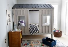 How to build a Restoration Hardware-inspired DIY cabin bed via Jen Woodhouse and Ana White