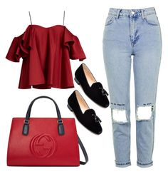 """business red handbag"" by magdaaa007 ❤ liked on Polyvore featuring Gucci, Topshop, Anna October, Jon Josef, followme, business, boyfriendjeans, thanksforvoting and likemyothersetstoo"