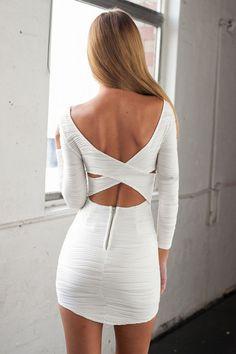 White Cross Back Mini Bodycon Dress
