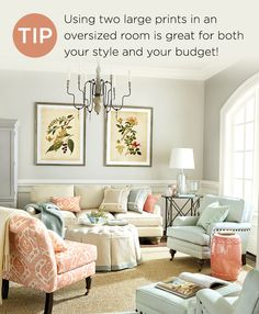Living room with coral and blue accents
