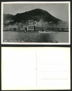 CHINESE JUNK BOATS | ... Old Real Photo Postard H.K Harbour from The Sea Chinese Junk Boat Peak