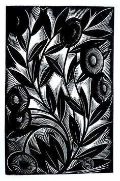 Periwinkle ~ Linocut by Deborah Harris