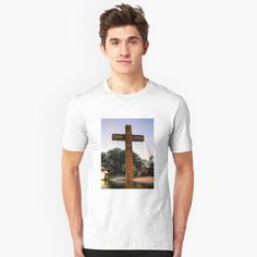'Water from the Cross' T-Shirt by LeonKramer My T Shirt, Tshirt Colors, Heather Grey, Classic T Shirts, Shirt Designs, Essentials, Slim, Printed, Awesome