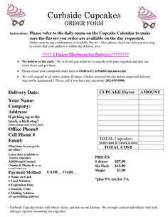 Sample Cupcake Order Forms