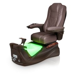 Infinity pedi-spa shown in Walnut Ultraleather cushion, Mocha base, Aurora LED Color-Changing bowl (shown in green)