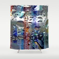 Dilution (2). Shower Curtain by Mary Berg - $68.00 #showercurtains #silver #drops #blue #bathroom