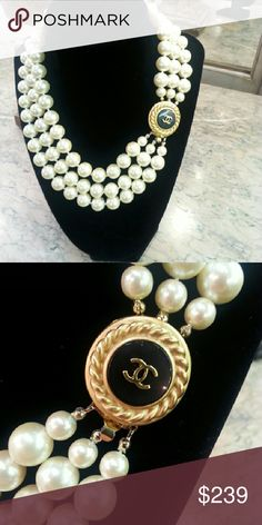 Chanel Button Necklace Vintage 3 Strand Pearl Necklace with repurposed Chanel Button clasp. Authentic Chanel button comes from Chanel cardigan.  This great necklace has been up cycled by Designsbyz for Unique One of a Kind piece. Super chic & classic.  ***** not to be confused with a necklace made by Chanel $$$$$$, only the button is authentic Chanel. Designsbyz Jewelry Necklaces