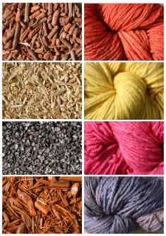 natural dyes (left top down) madder root, weld chopped stems, cochineal, logwood chips, and (right) dyed wool Textile Dyeing, Art Textile, Dyeing Yarn, Dyeing Fabric, Shibori, Fabric Yarn, How To Dye Fabric, Natural Dye Fabric, Natural Dyeing