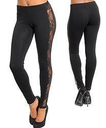 Black Side Lace Leggings