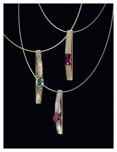Zoltan David  'Arch Pendants' with Pink and Green Tourmalines  Necklace
