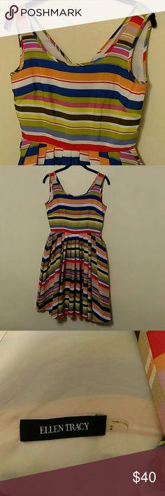 Ellen Tracy Striped Sleeveless Dress Super fun multi-colored sleeveless dress from Ellen Tracy! 👗 Ellen Tracy Dresses Mini