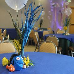 Stunning Disney Finding Dory themed centerpieces at Megaplex Theatres at the…
