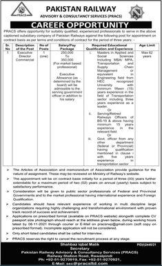 Executive Director Jobs at Pakistan Railway 2021