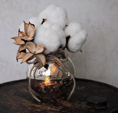 Cotton Boll Bouquet and Mercury Glass Vase  by TALLCOTTONnPEAS, $50.00