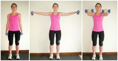 Dumbbell Front + Lateral Raise This move will really sculpt and mold those shoulders! Make sure your arms are extended as straight as possible for the best results. Front Raises, Lateral Raises, Dumbbell Workout, Celebrity Look, Tabata, Strength Training, Biceps, Mens Fitness, Strong Women