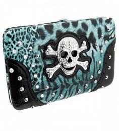 Power Puff Girls Blue Leopard Print Skull Rhinestone Wallet