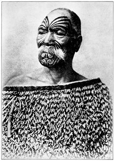 Title: A Tattooed Maori    Description - Illustration obtained from a book on New Zealand    Date - 1913 (print date)    Source - Picturesque_New_Zealand, 1913. Gooding, Paul. Scan obtained from alternative to works transcript #maoritattoosface