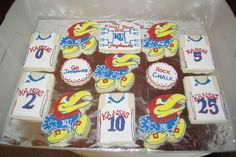 UPDATED POST: I created these KU Jayhawk cookies for my daughter's school auction. I was planning on donating Easter cookies, but when th. Basketball Cookies, Ku Basketball, Easter Cookies, Sugar Cookies, Kansas Jayhawks Football, Chalk Rock, Cookie Frosting, Cookie Cakes, University Of Kansas