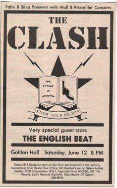 The Clash & English Beat Tour Posters, Music Posters, Concert Posters, Music Pictures, Poster Pictures, 80s Music, Film Music Books, The English Beat, The Future Is Unwritten