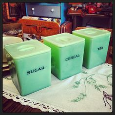 Lovely Jadeite Sugar, Cereal & Tea canisters from the Jeannette Glass Co. Love!