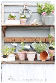 istutuspöytä, diy, verho istutuspöytään, puutarha, sisustus ulkona