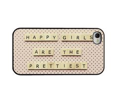 Audrey Hepburn Iphone case - quote Iphone 4 4s cover - happy girls are the prettiest - polka dots - girly Iphone cover. $16.95, via Etsy.