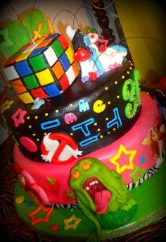 80's Themed Slimer Birthday Cake