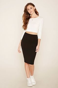 FOREVER 21+ Heathered Pencil Skirt